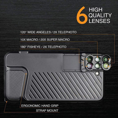 6 in 1 Multifunctional iPhone Case with Professional Camera Lens