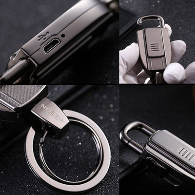 Stylish 2-in-1 Premium Key Chain/Ring with USB Rechargeable Lighter