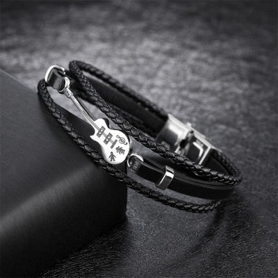 Stainless Steel Leather Noble Guitarist Bracelet
