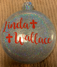 "Load image into Gallery viewer, ""Heaven and Heart"" Memorial Glass Christmas Ornament"