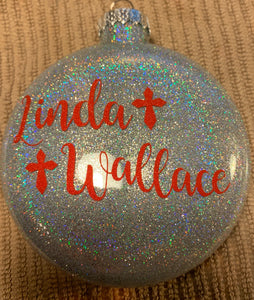 """Feel you with my heart"" Memorial Glass Christmas Ornament"