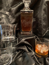 Load image into Gallery viewer, Custom Etched Whiskey / Scotch Decanter Set w/ 4 Glasses