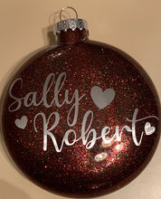 "Load image into Gallery viewer, ""Lifetime in our hearts"" Memorial Glass Christmas Ornament"