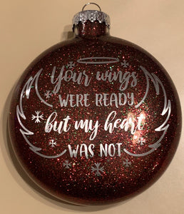 """Lifetime in our hearts"" Memorial Glass Christmas Ornament"