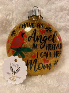 """Cardinals appear when Angels are near"" Memorial Glass Christmas Ornament"