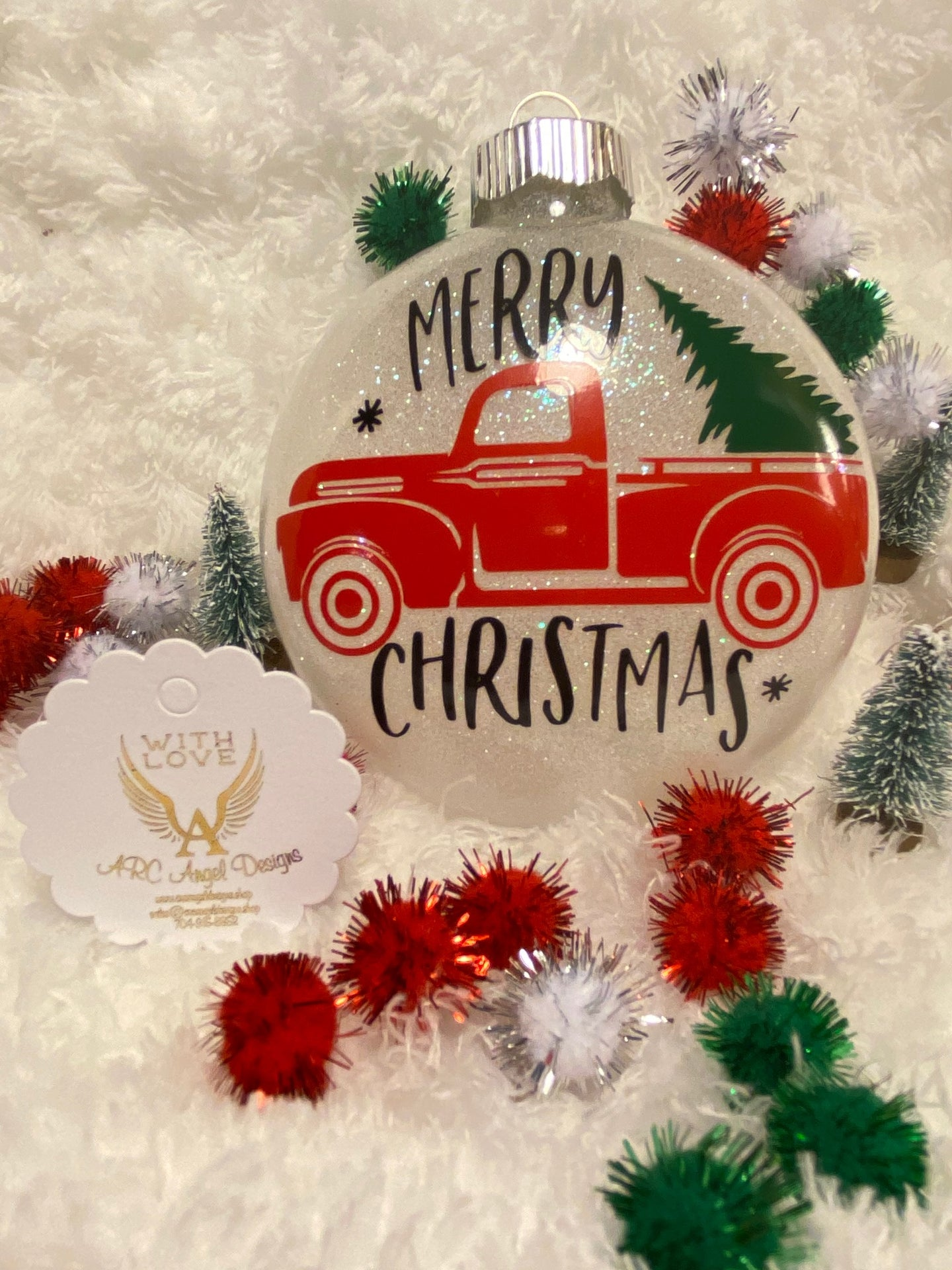 Country Red Truck Christmas Ornament