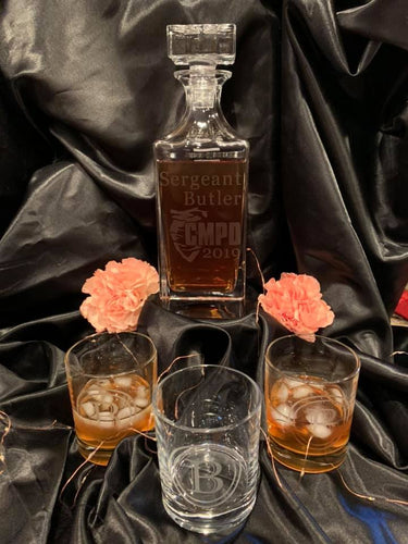Custom Etched Whiskey / Scotch Decanter Set w/ 4 Glasses