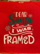 Load image into Gallery viewer, Funny Christmas T-shirt Youth, Dear Santa - I was Framed