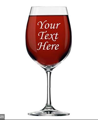CUSTOM ETCHED STEM WINE GLASS DRINK WARE - GIFTS
