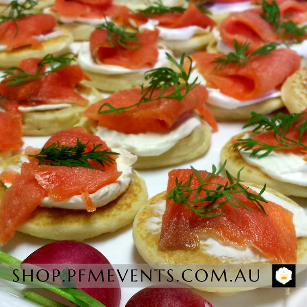 Smoked Salmon Blinis Platter Launch Event Melbourne Weddings
