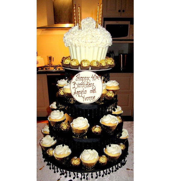 Black 4-Tier Cake Stand Launch Event Melbourne Weddings