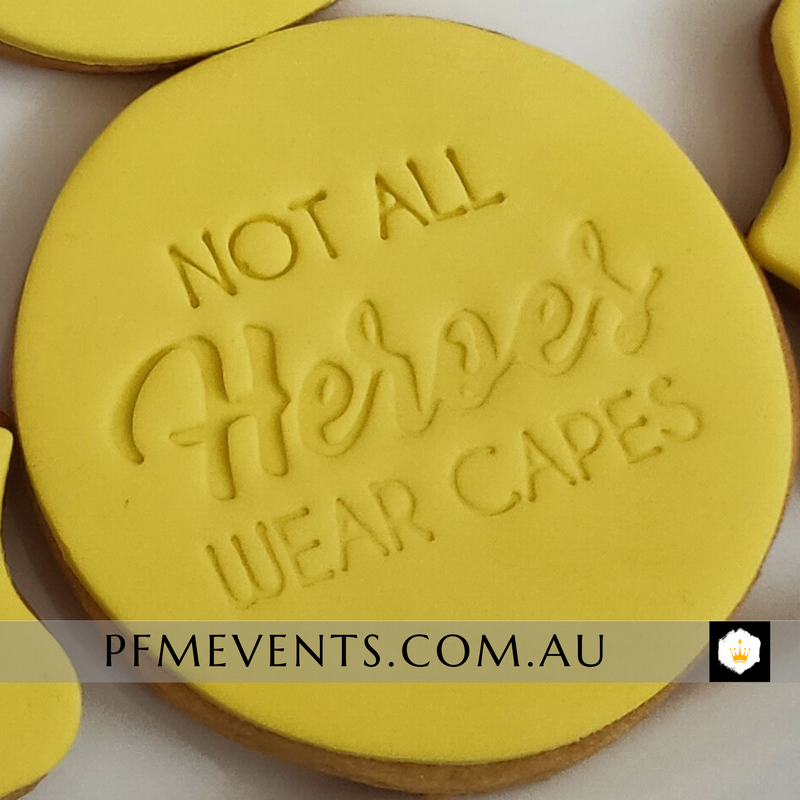 Not All Heroes Wear Capes Custom Biscuit Gifts Launch Event Melbourne Weddings