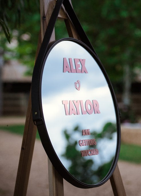 Custom Message Mirror Leather Sign Launch Event Melbourne Weddings