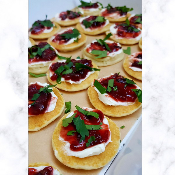 Balsamic beetroot blinis (per 12) Launch Event Melbourne Weddings
