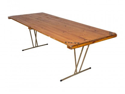 2.4m Wooden Trestle Table Hire Launch Event Melbourne Weddings
