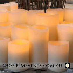 LED Event Pillar Candles - Hire Launch Event Melbourne Weddings