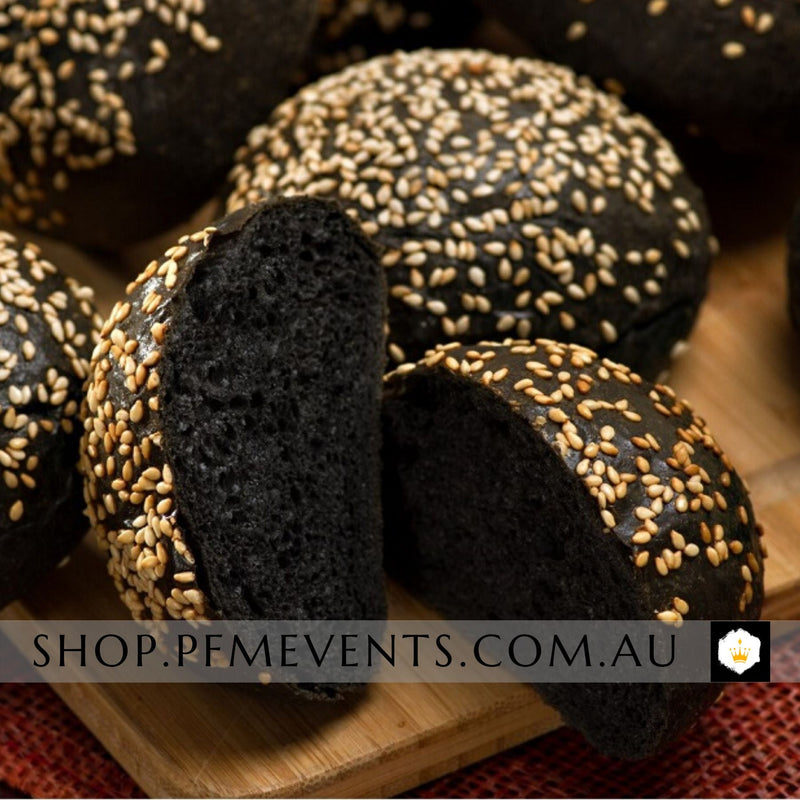 Bulk Charcoal Burger Slider Buns (v) Launch Event Melbourne Weddings