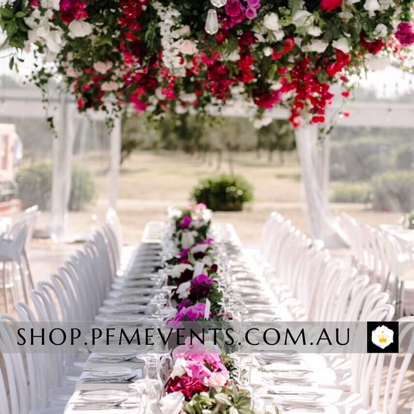 2.4m Plastic Trestle Table Hire Launch Event Melbourne Weddings
