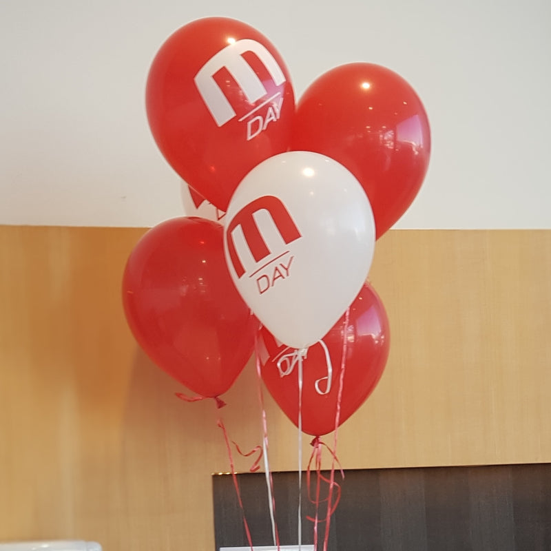 Inflation of 28cm Custom Printed Latex Balloons - Add-on pricing Launch Event Melbourne Weddings