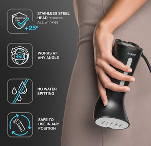 Steamer for Clothes, Best Portable Travel and Home Garment Steamer, Metal Steam Head, 25s Heat Up, Pump System, Mini Size, Large Water Tank, Handheld Steamer for Any Fabrics, No Water Spitting, 110V