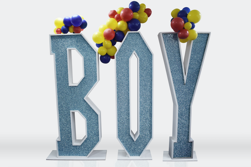 "6ft Glitter Light Up ""BOY"" With Balloons"
