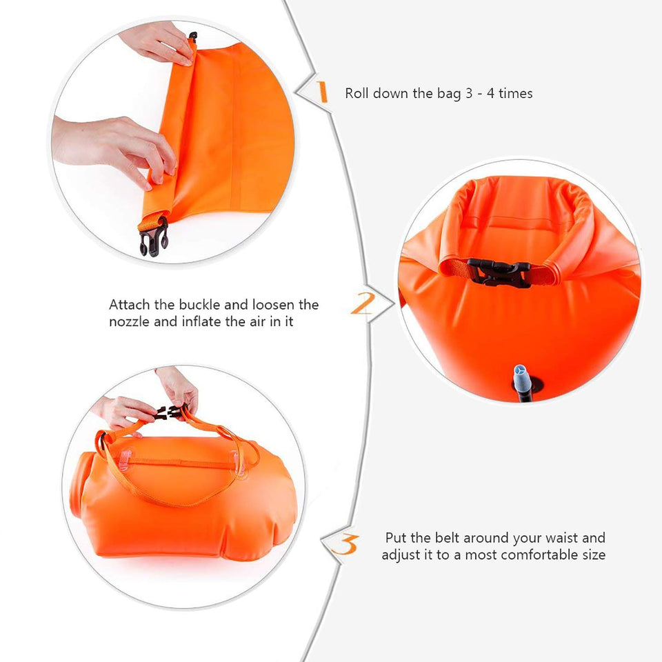 Swim Buoy, 20L Inflatable Swim Safety Float Open Water Swim Bubble