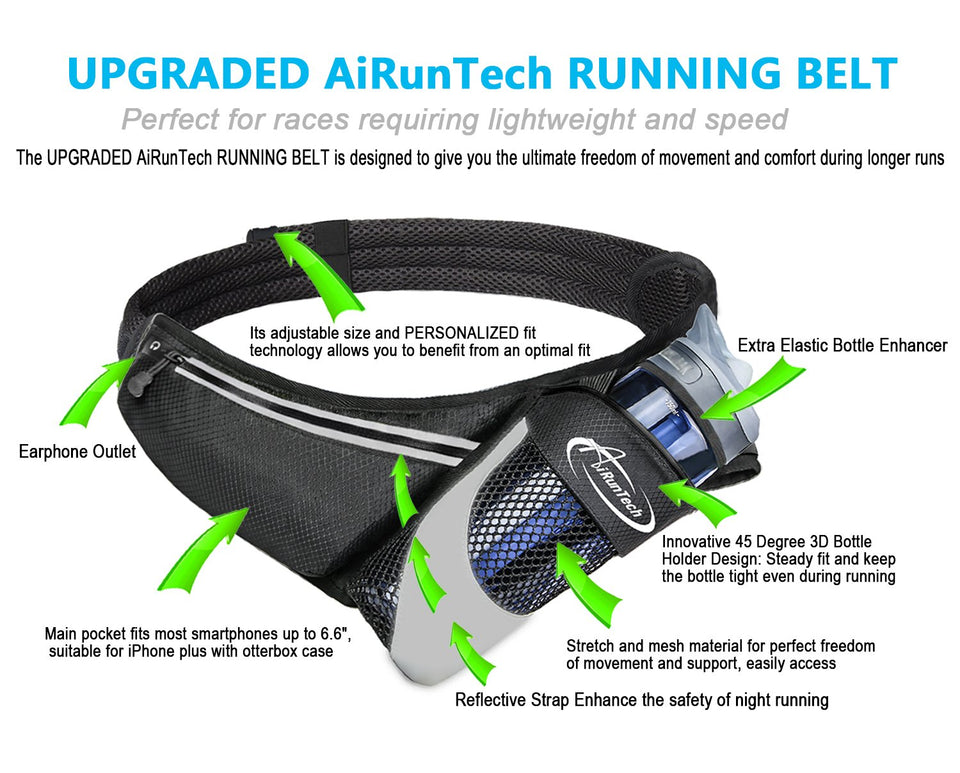 AiRunTech Upgraded No Bounce Hydration Belt
