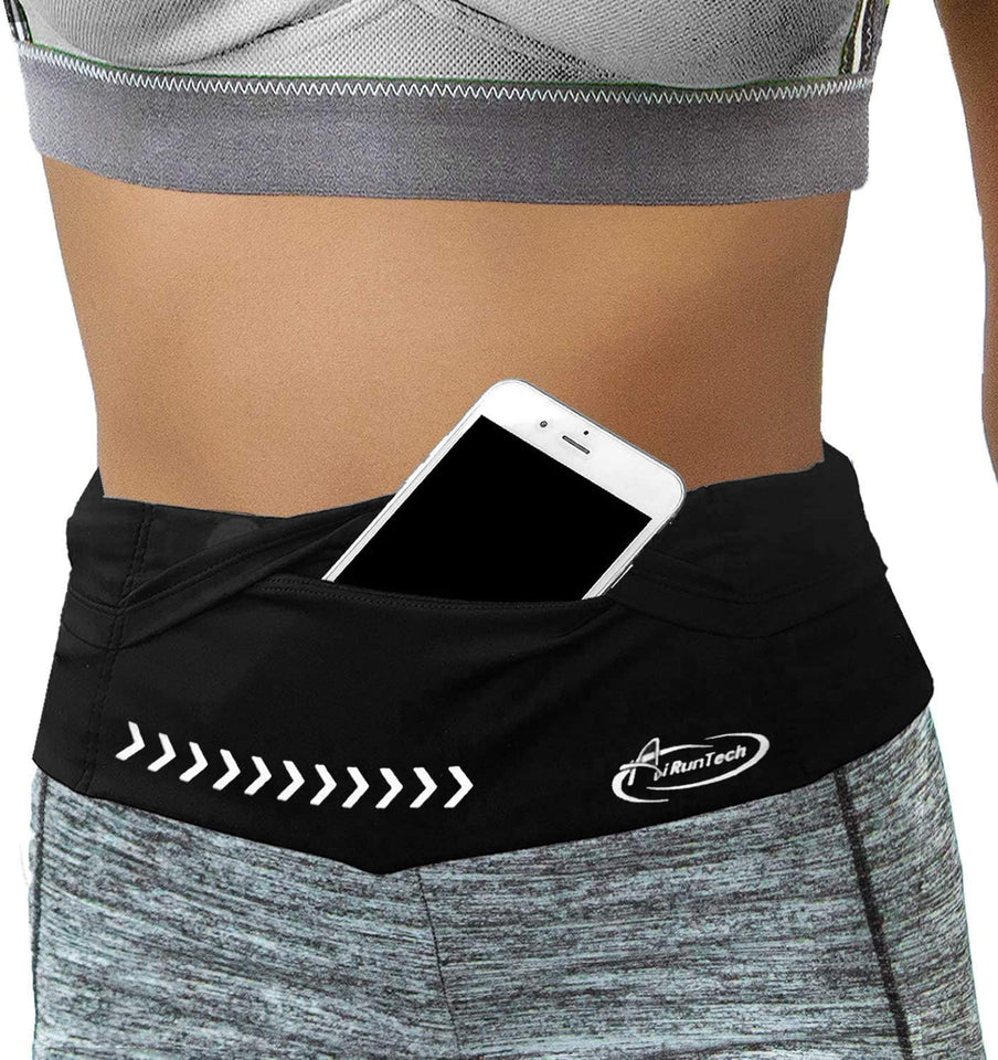 AiRunTech Adjustable Running Belt Waist Pack with Phone Holder for All Phones, No-Bounce, Slim, Lightweight and Secure, Suitable for Men and Women