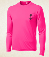Long Sleeve Activewear - Anchor Logo - Hot Pink