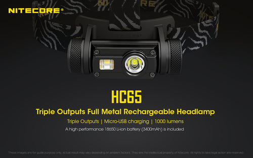 Nitecore HC65 - Maximum output 1000 lumens. Powered by 1 x 18650 or 2 x CR123 or RCR123 (16340) batteries.