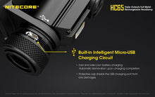 Load image into Gallery viewer, Nitecore HC65 - Maximum output 1000 lumens. Powered by 1 x 18650 or 2 x CR123 or RCR123 (16340) batteries.