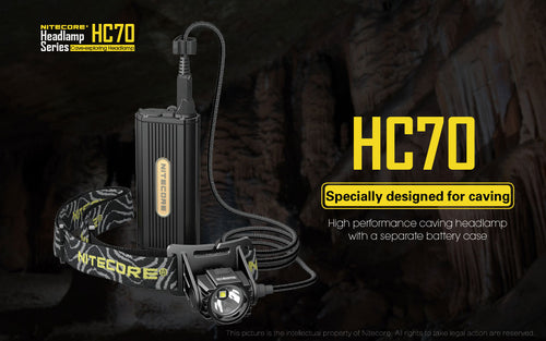 Nitecore HC70 - Maximum output 1000 lumens. Powered by 2 x 18650 batteries.