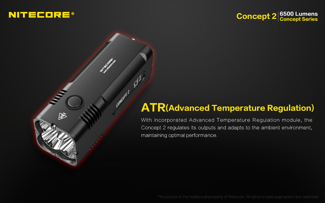 Nitecore Concept 2 - Maximum output 6500 lumens. Powered by a built-in 12400mAh Li-ion battery.