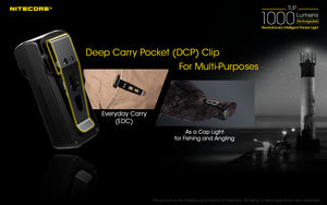 Nitecore TUP - Maximum output 1000 lumens. Powered by a built-in Li-ion battery.