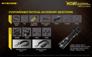 Nitecore MH25GTS 1800 lumens. USB Rechargeable