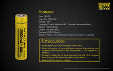 Load image into Gallery viewer, Nitecore 18650 Li-ion Battery 3500mAh NL1835