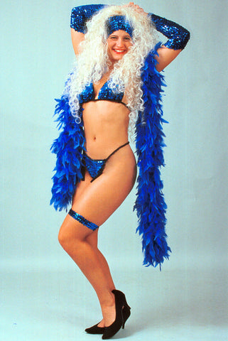 Our model is wearing the royal blue Chandelle Turkey Feather Boa.