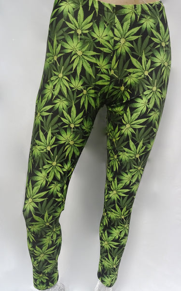 Green Marijuana Leggings