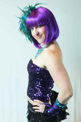 Our model is wearing the Long Sequins Tube Top or Skirt in Purple.