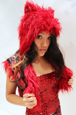 Our model is wearing the High-End Fur Kitty Hat in Red Shag.