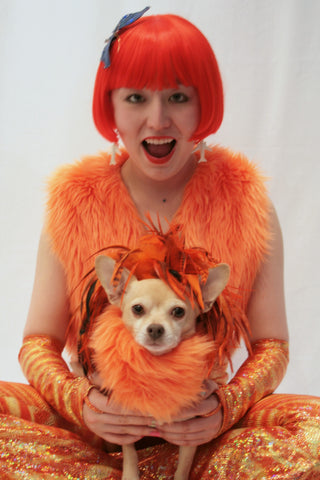 Our model is wearing the 1920's Bob  wig in Orange.