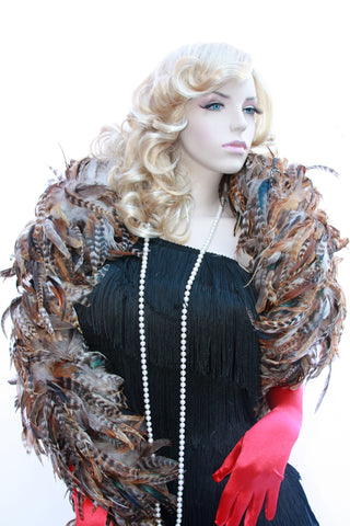 Our model is wearing the Rooster Feather Boa in the Natural Saddle Hackle.