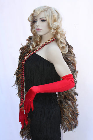 Our model is wearing the red satin opera gloves.