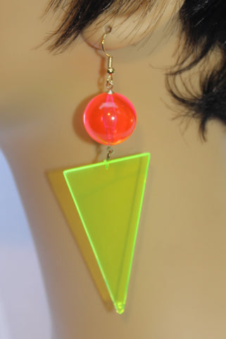 Neon Green Triangle with Neon Pink Ball