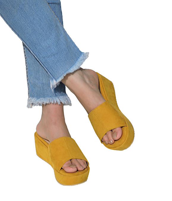 Classic Cushioned Flatforms - MUSTARD YELLOW