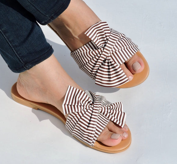 BESTSELLER BOW NAUTICAL SLIDE - BROWN