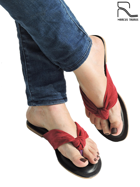 Knotted V Strap Slide - Red