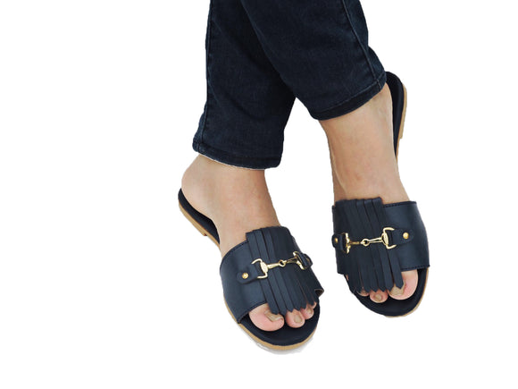 Horse Bit Slide Navy Blue