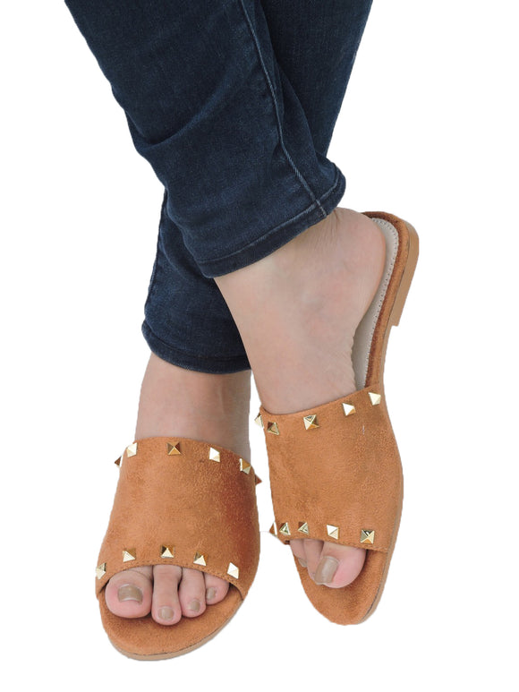 Leisure Studded Slide Tan