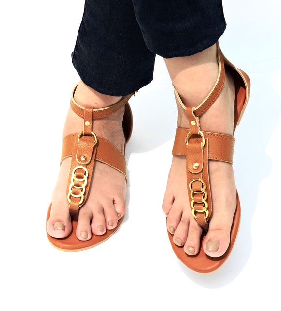 Ringed Thong Slide Tan